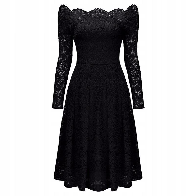 Čipkované svadobné šaty carmen retro čierne L 40