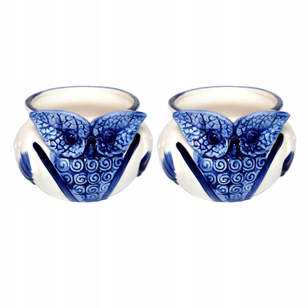 2ks Kreatívny modrý retro keramický kvetináč