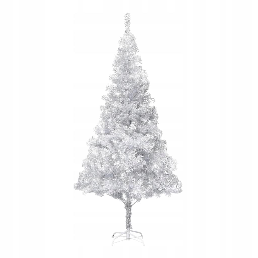 Umelý vianočný stromček so stojanom, strieborný, 215 cm, PE