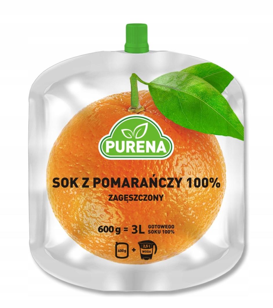 Апельсиновый сок 100% (концентрированный) PURENA 3л / 600г