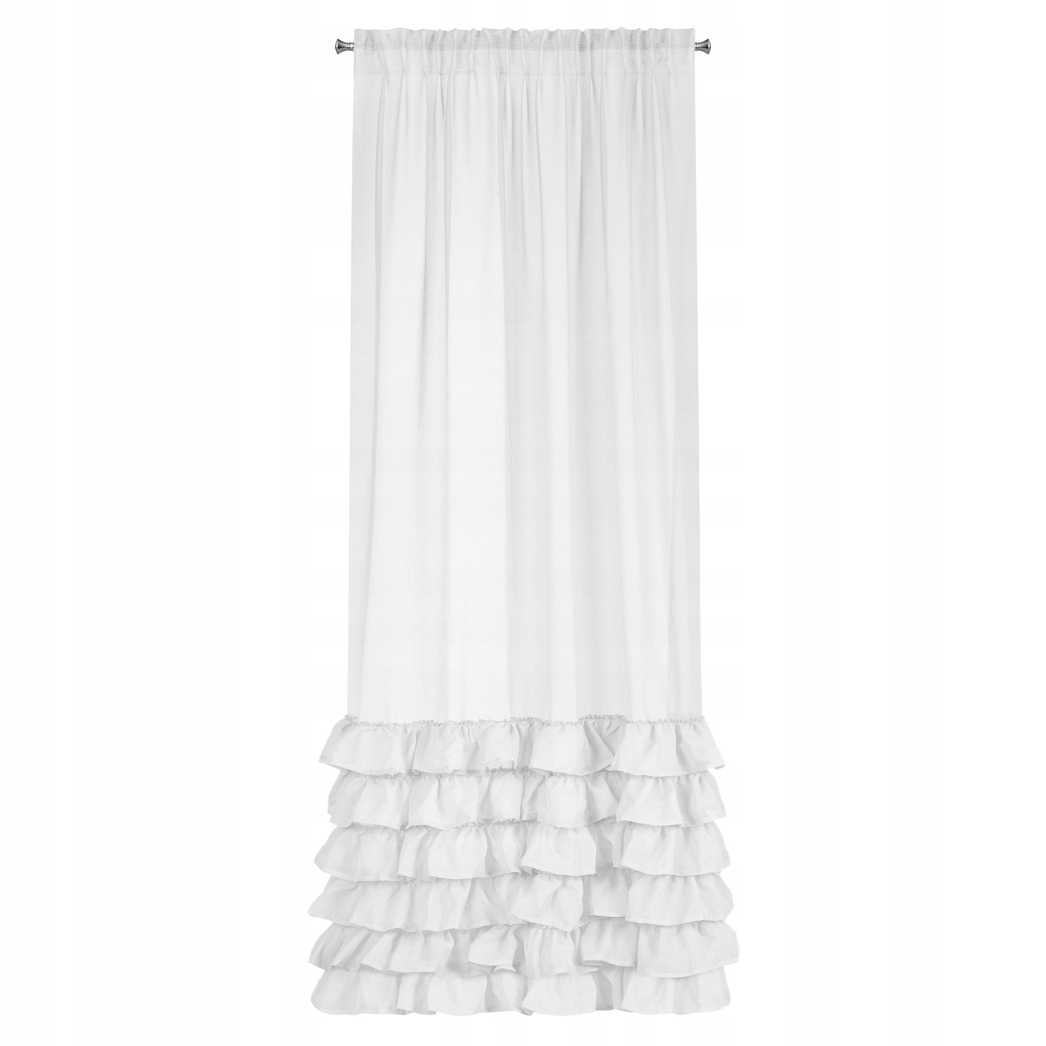 Piękna biała firana z falbanami ROMANTYCZNY STYL