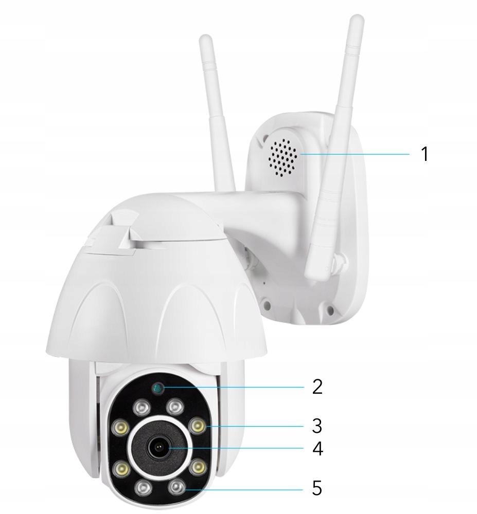 Obrotowa kamera zewnętrzna IP WiFi - 2Mpx + Audio Wysokość produktu 18 cm
