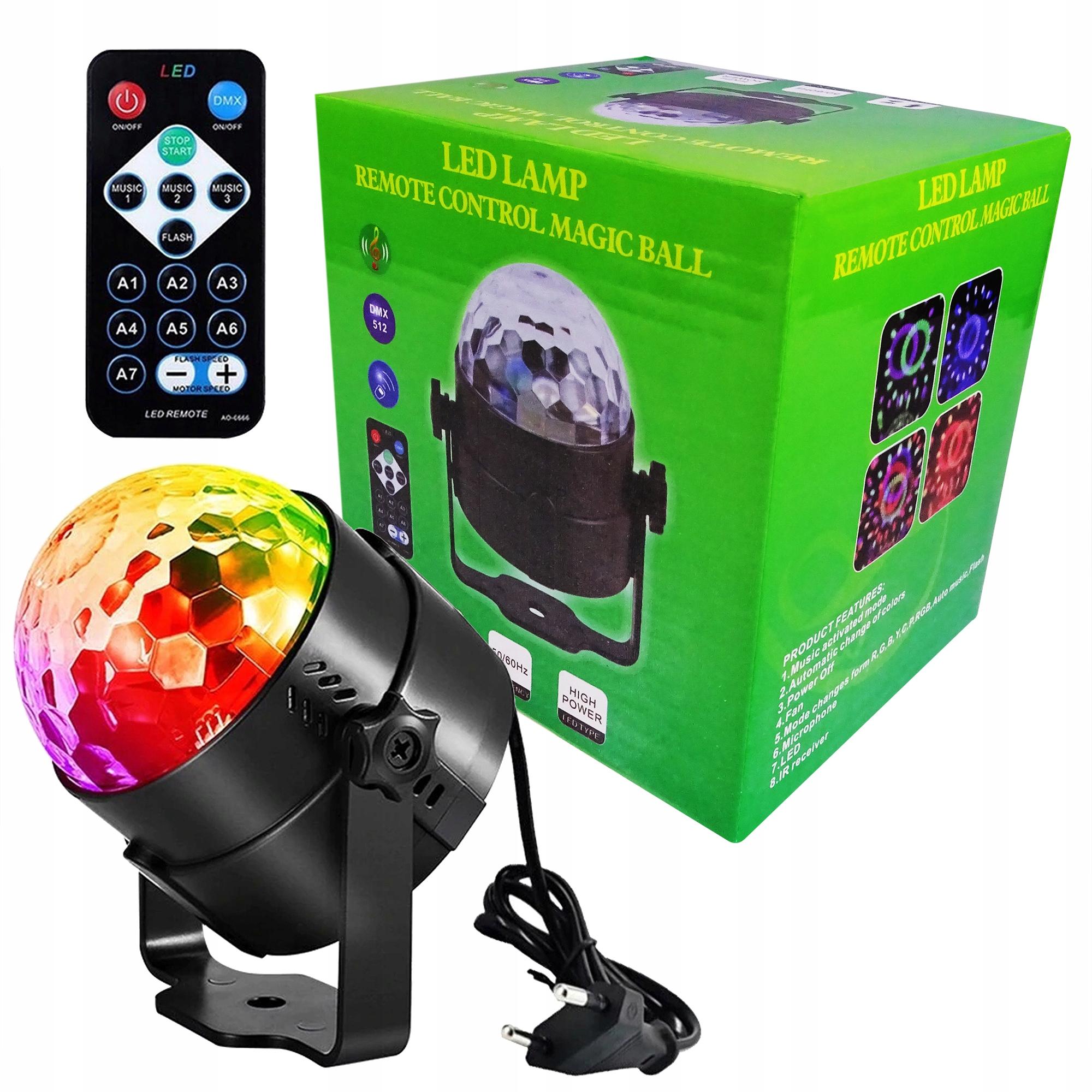 Item DJ DISCO BALL LIGHT BALL RGB LED FLOODLIGHT REMOTE CONTROL