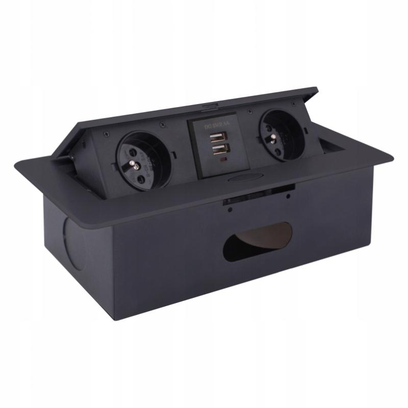 Встраиваемая розетка KOMBIBOX с USB-разъемом ЧЕРНЫЙ