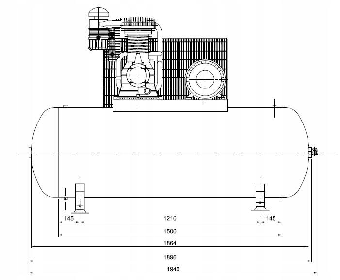 SPRĘŻARKA KOMPRESOR 500L ATLAS COPCO AC 100E 500 T Układ zbiornika poziomy