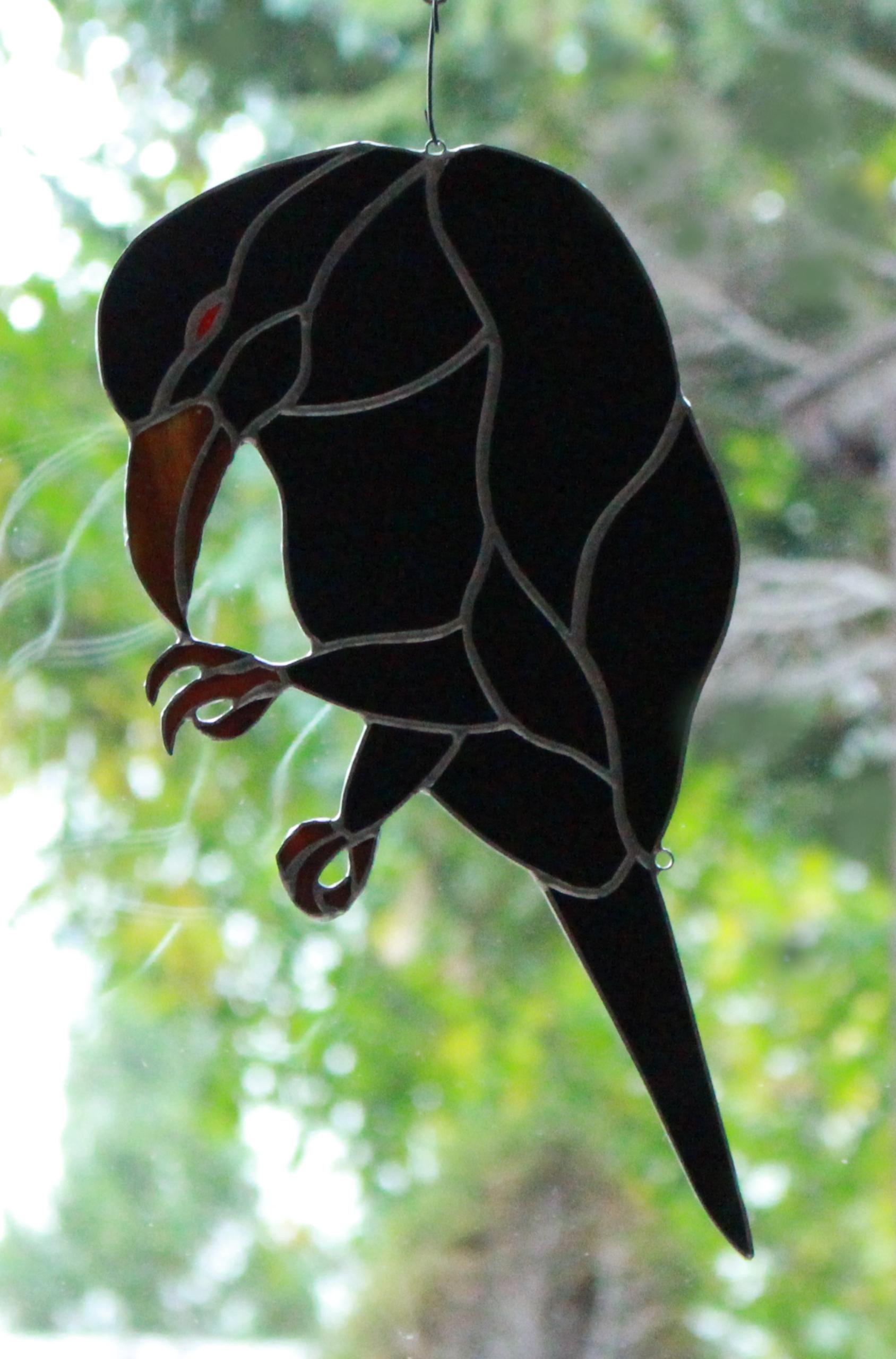 Хэллоуин украшение черный ворон витраж орнамент ворона