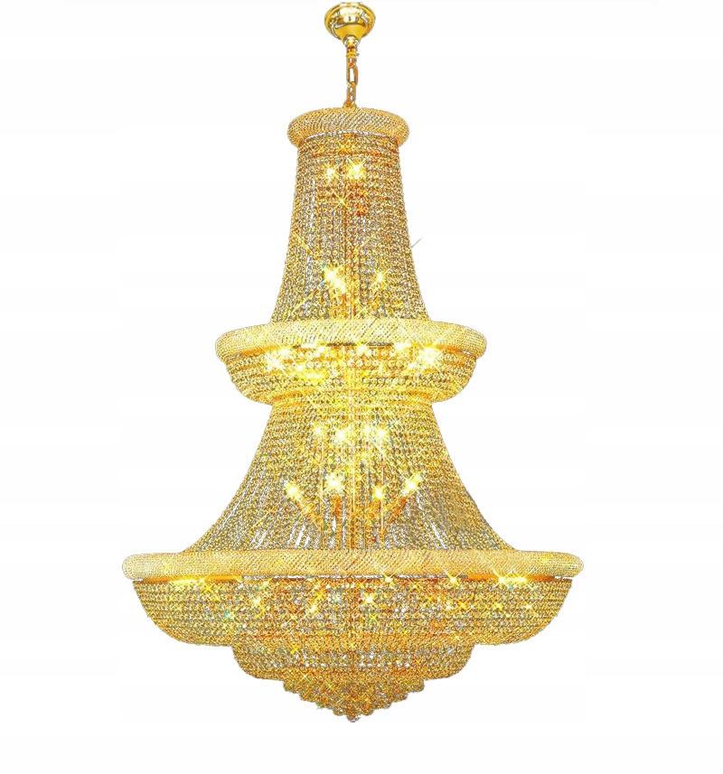 Prívesná lampa so zlatým krištáľovým lustrom 120