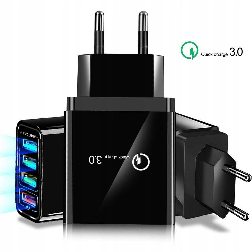 Ładowarka Sieciowa 3xUSB + USB QC3.0 Liczba urządzeń ładowanych jednocześnie 4