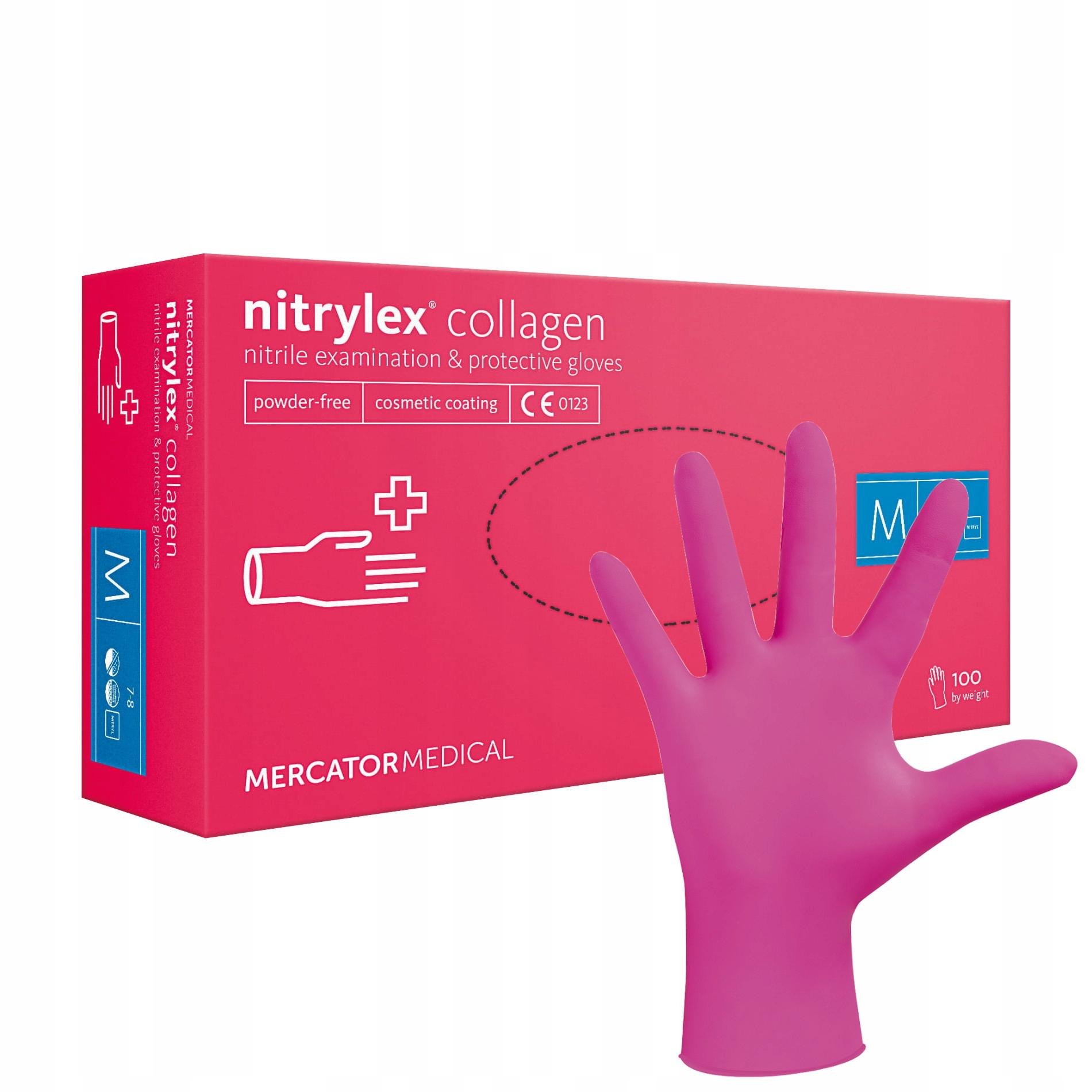 Нитриловые перчатки Nitrylex PF Collagen 100 шт М
