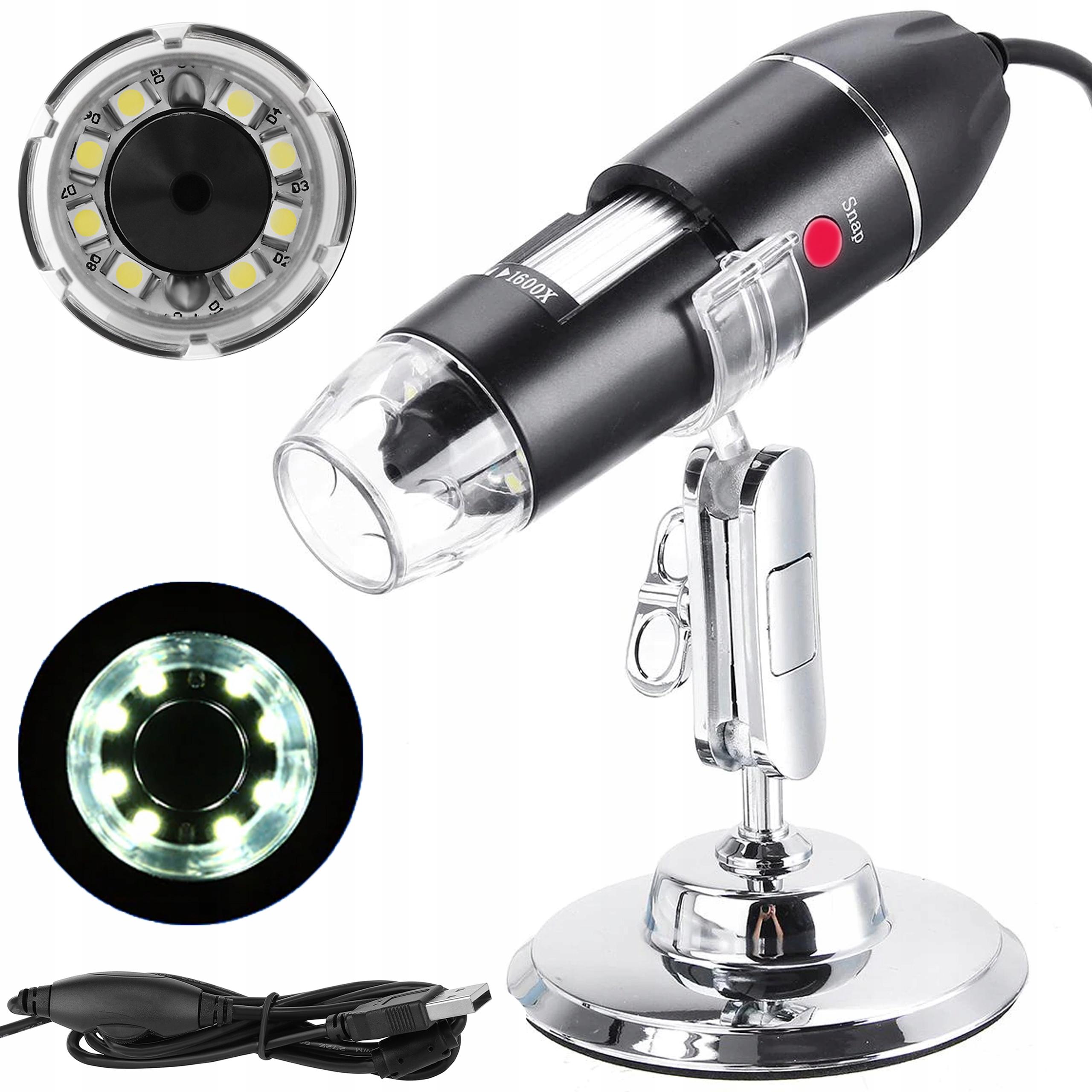 Mikroskop Cyfrowy USB Przybliżenie 1600x 2Mp 8 LED