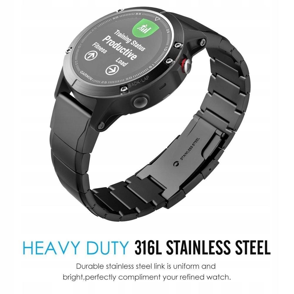 Bransoleta Steelband do Garmin Fenix 5 / 6 / 6 Pro Kolor czarny