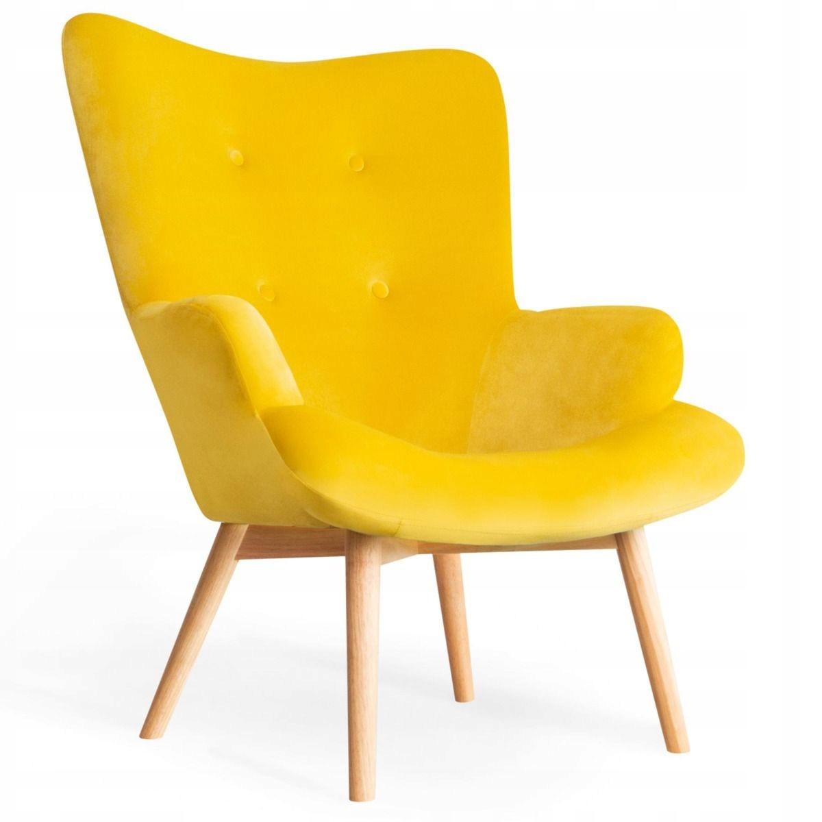 USZAK желтое скандинавское кресло Стеганый велюр