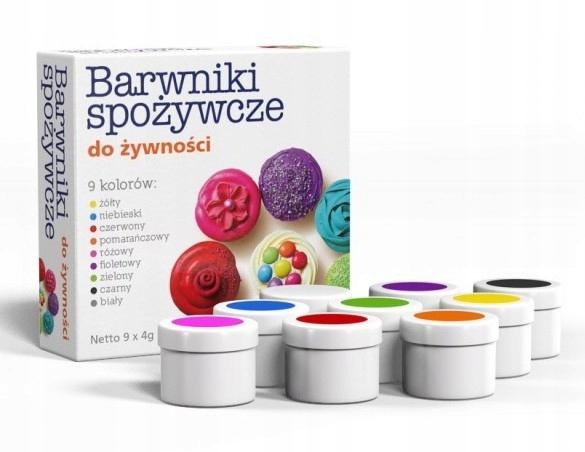 Barwniki spożywcze w proszku - zestaw 9 kolorów