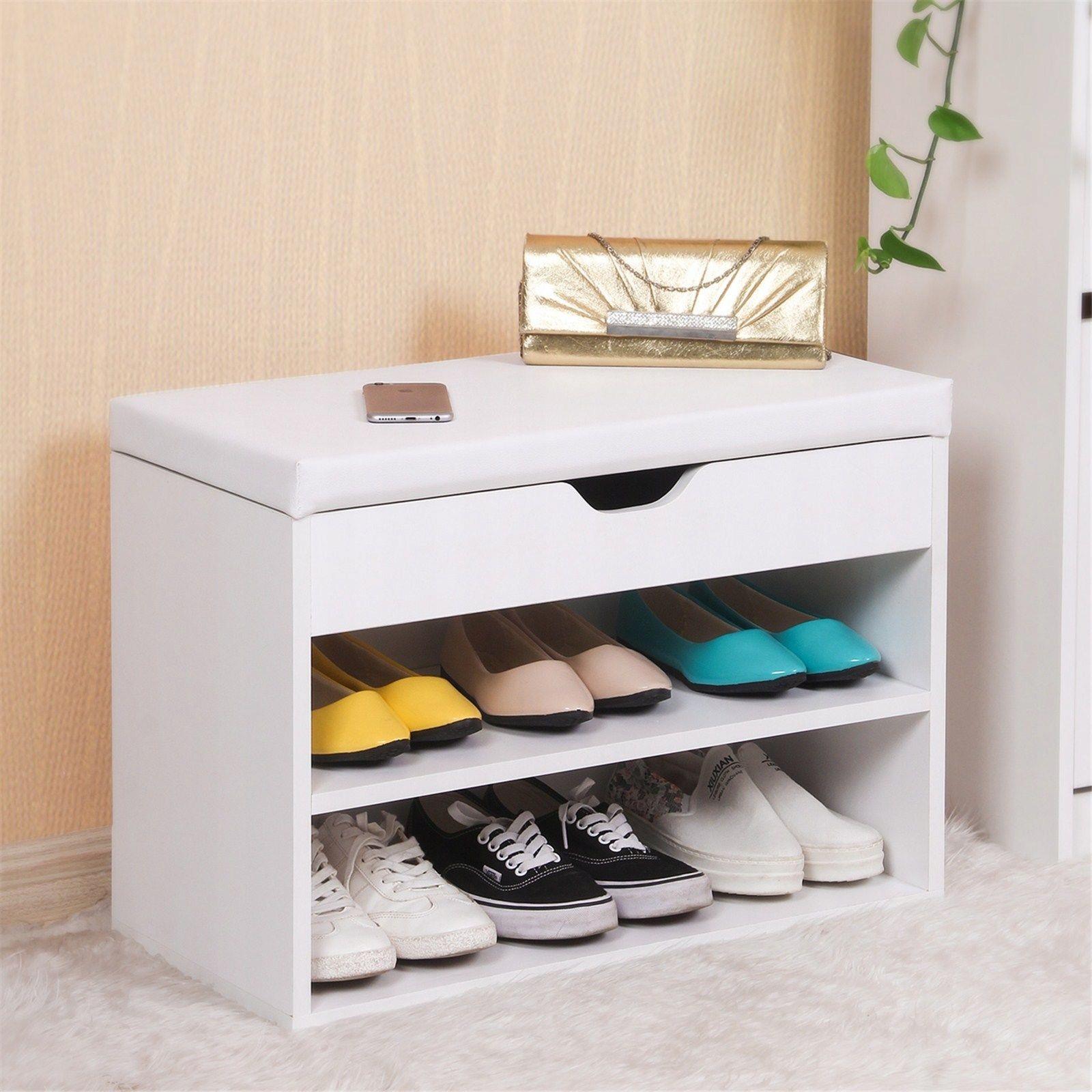 Topánky stojan s sedadla box farba biela