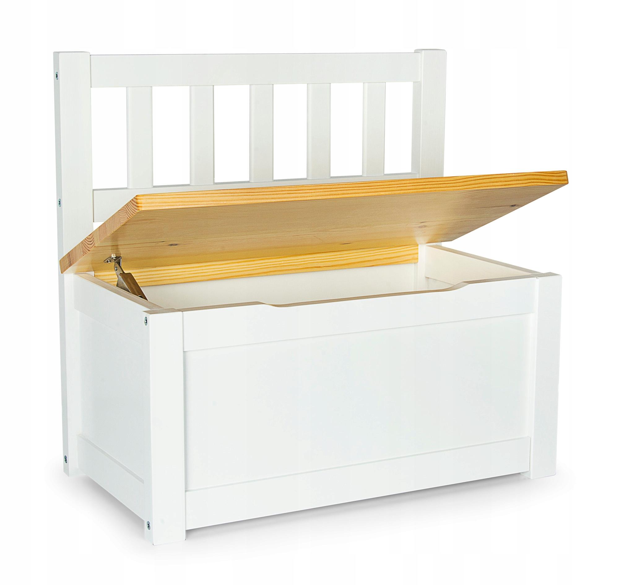 Комод / скамейка для игрушек и сокровищ белый / сосна