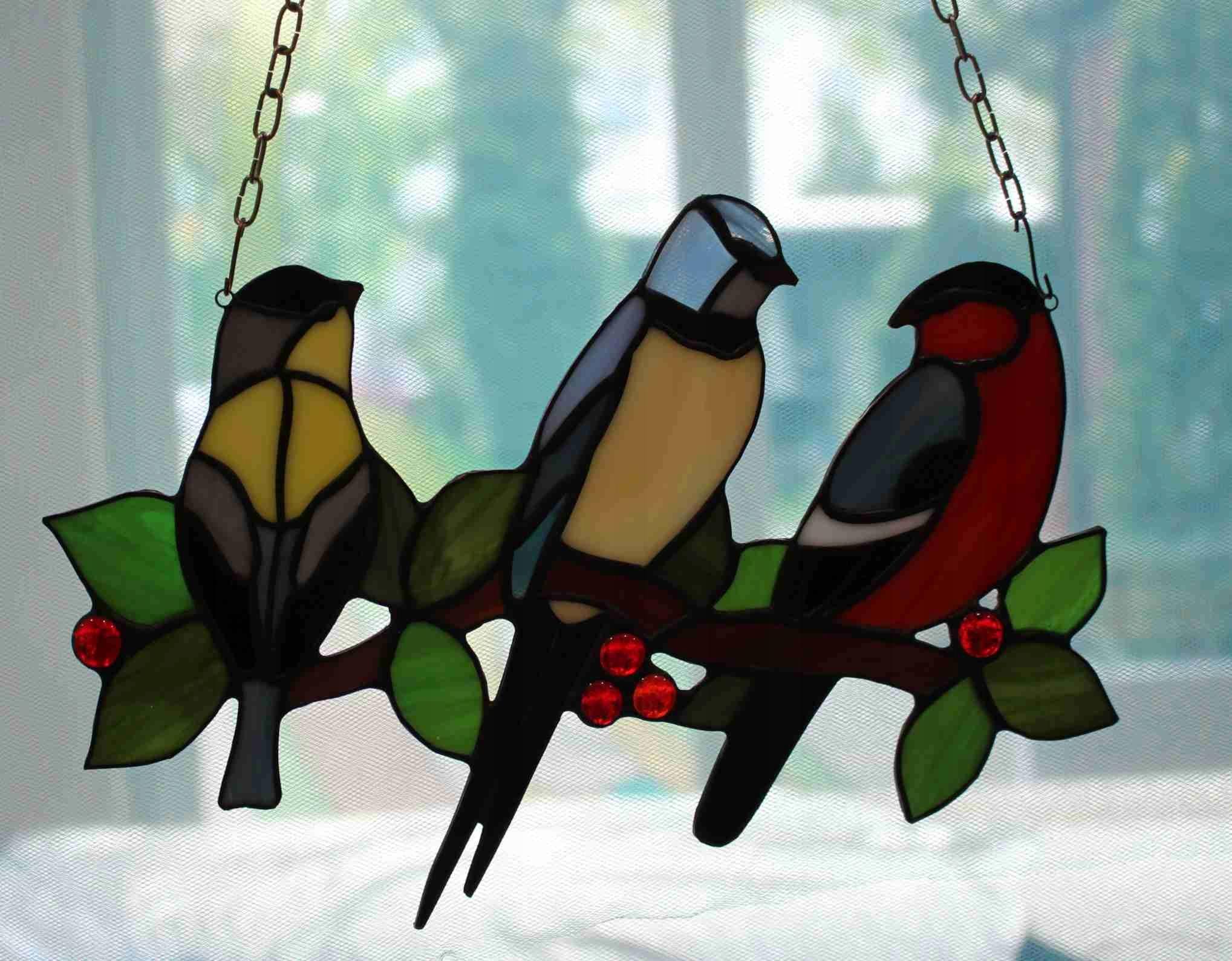 Польский витраж Tiffany birds тройной горизонтальный