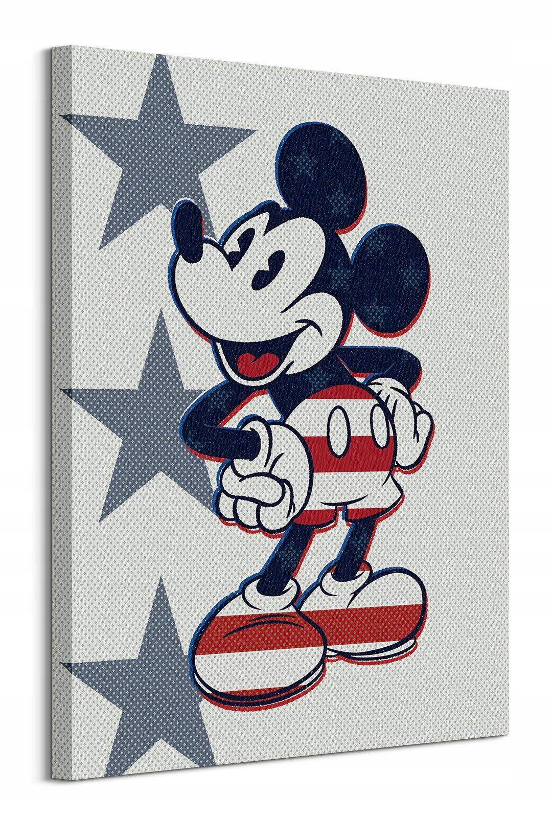 Mickey Mouse Retro Stars n 'Stripes - maľba na plátne