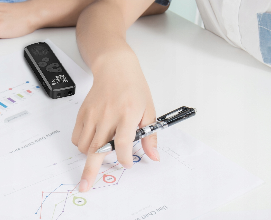 Szpiegowski Dyktafon cyfrowy 1024Kbps 8GB detekcja Zasilanie akumulatorowe
