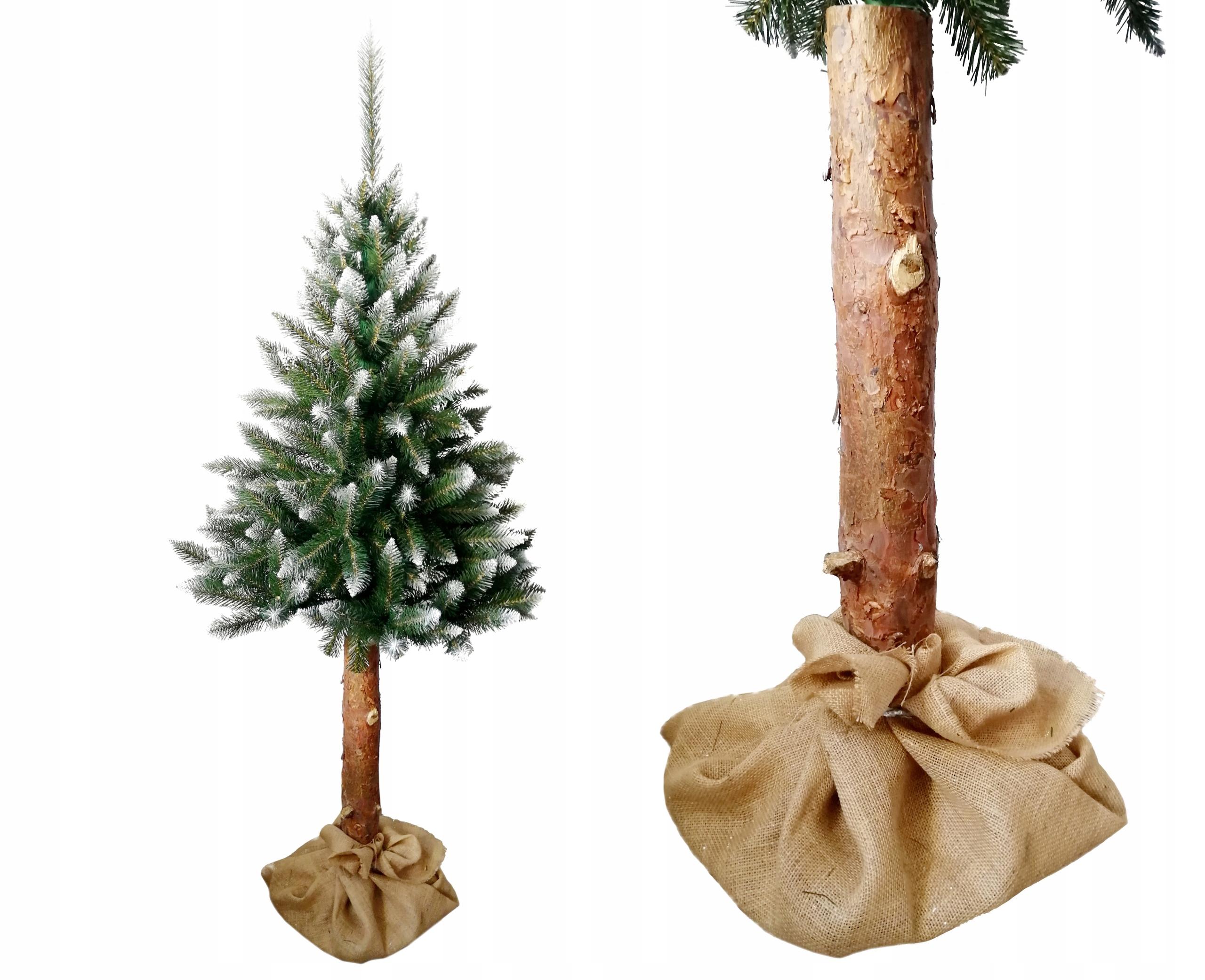 220 cm vianočný stromček BIELY SMREK na kmeni borovice juty