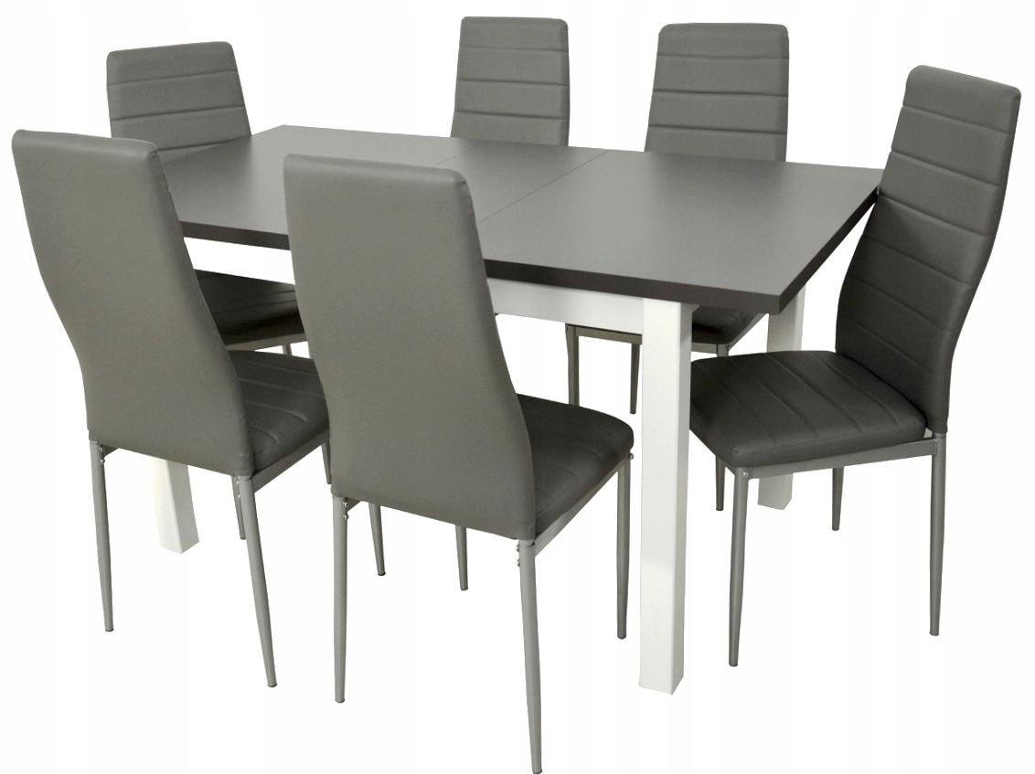 6 stoličkami a veľký jedálenský stôl biely skladací stôl top grafit