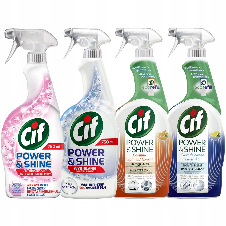 Cif Power Shine Spray MIX делать czyszczenia 4x750мл