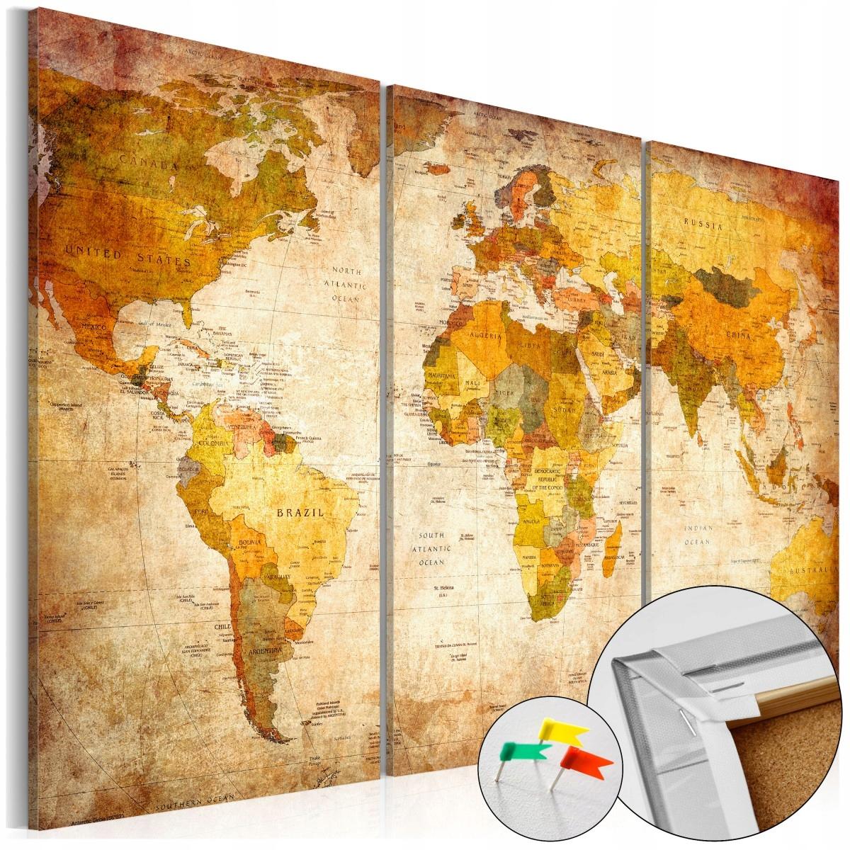 Korková doska 90x60 Stará retro mapa sveta