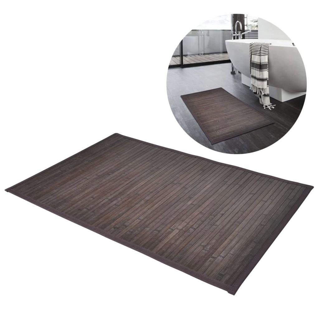 2ks Bambusové kúpeľňové predložky 40x50 tmavo hnedá