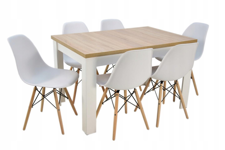 SKANDYNAWSKI zestaw stół i krzesła 6szt DO SALONU
