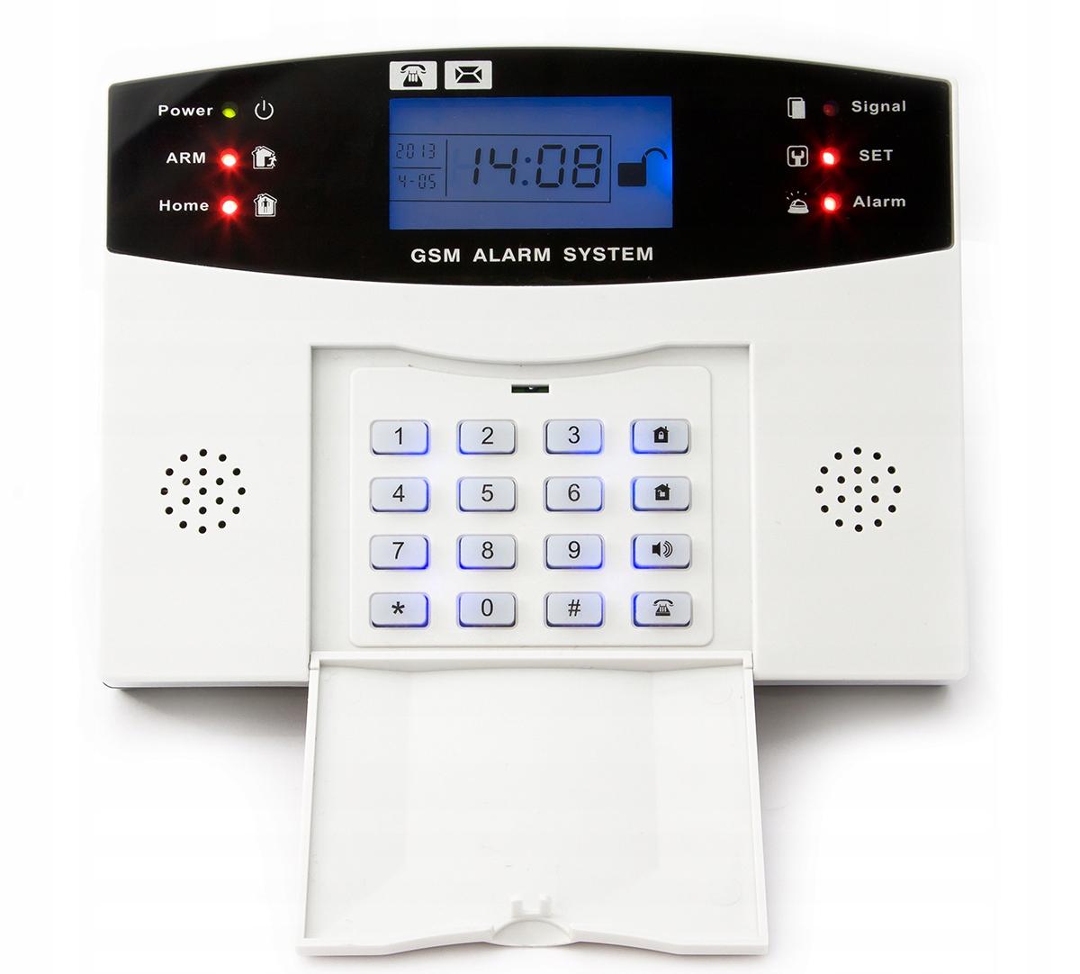 PRZEWODOWY ALARM LCD GSM APP SYRENY POLSKI 5 PIR Skład zestawu centrala alarmowa czujka ruchu manipulator czujka magnetyczna zewnętrzny sygnalizator akustyczno-optyczny inny