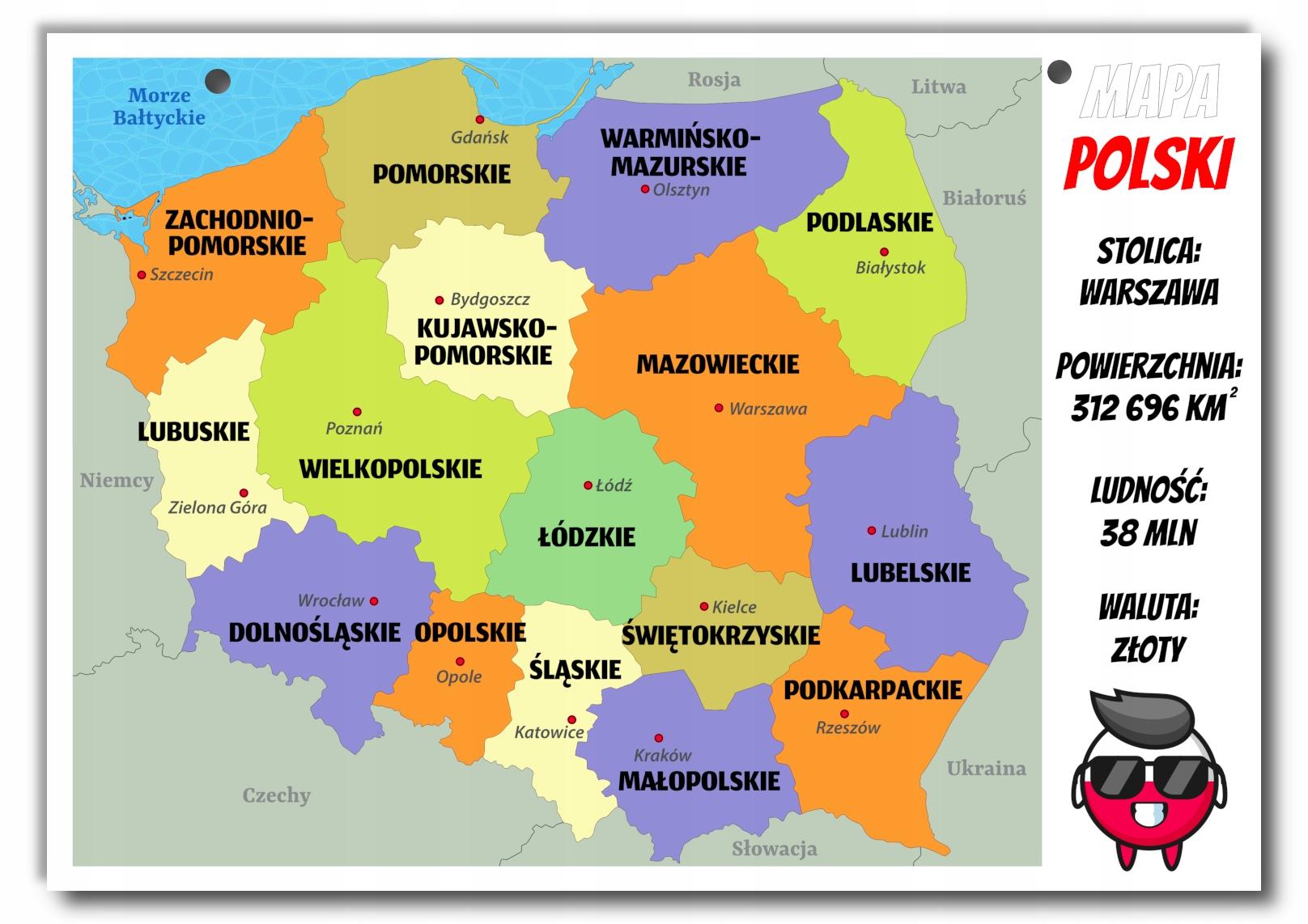 Kolorowa plansza tablica mapa Polski Polska A4