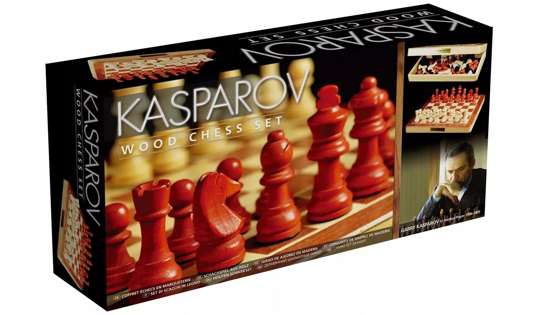 SZACHY WARCABY DREWNIANE FIRMOWE KASPAROV PRO 2614