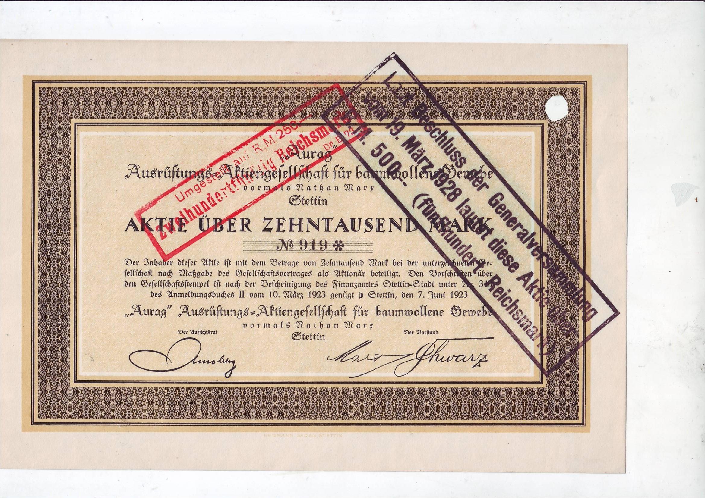 AURAG Szczecin, akcja z 1923 r. na 10000 marek