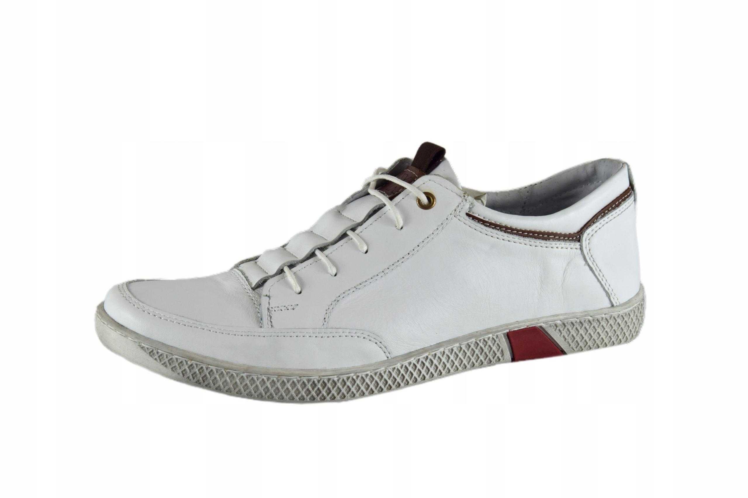 Białe buty skórzane sznurowane półbuty męskie 0448