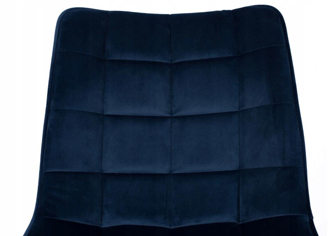 Krzesło Tapicerowane Pikowane Granatowe Welur Wysokość siedziska 48 cm