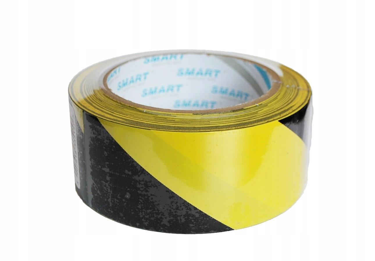 Taśma ostrzegawcza samoprzylepna żółto-czarna 25 m