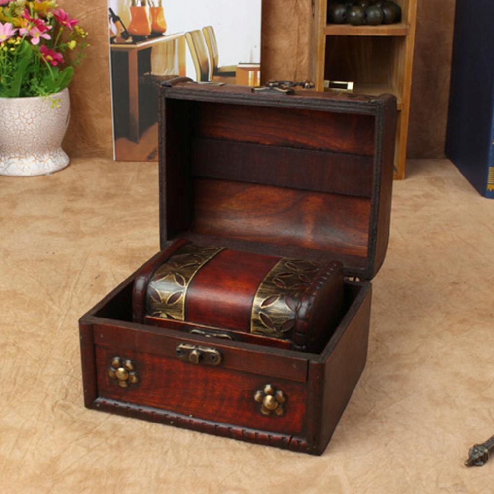 2 ks 2 veľkosti Retro drevená hnedá krabica