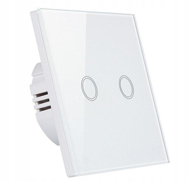 Włącznik ścienny dotykowy LED szklany podwójny