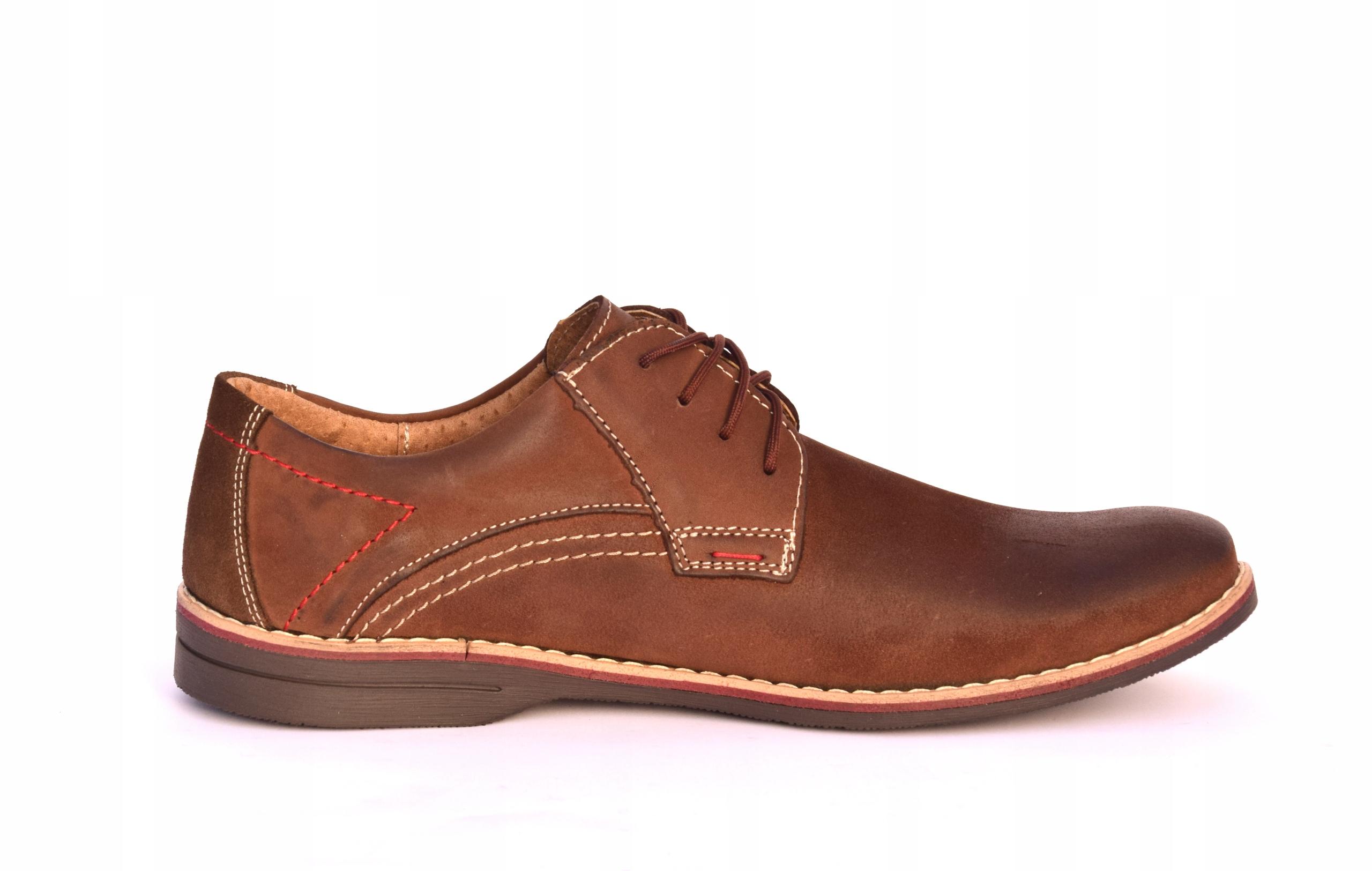 Buty męskie brązowe obuwie skórzane polskie 242 Długość wkładki 27 cm