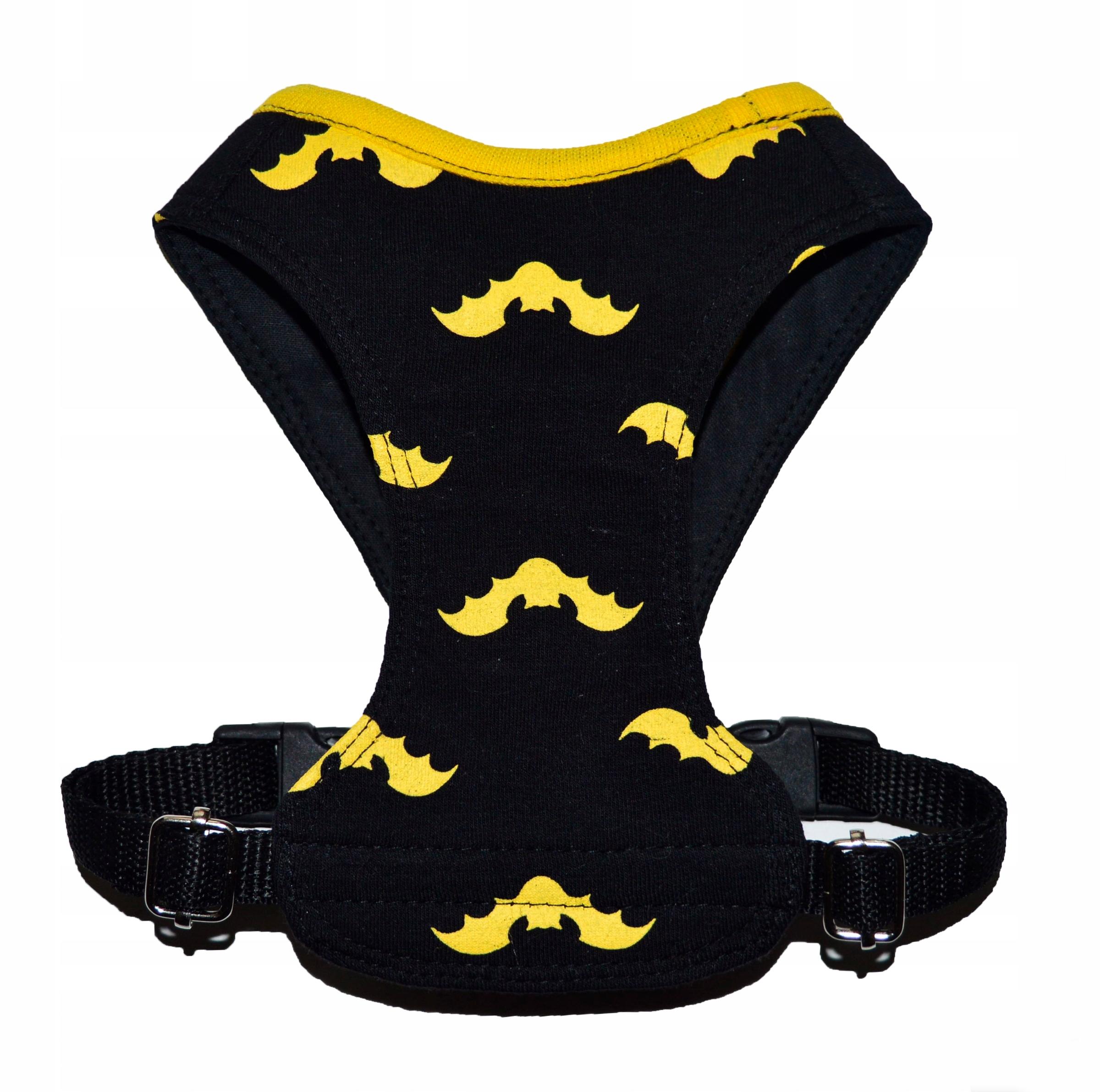 Szelki bezuciskowe bawełniane dla psa kota BATMAN