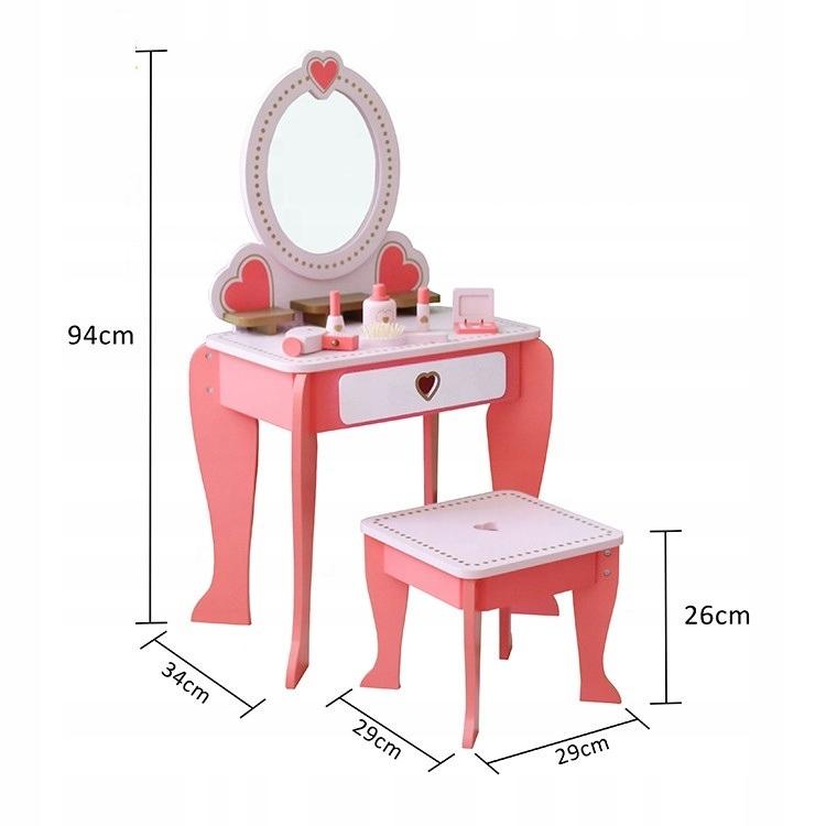 Duża drewniana toaletka dla dzieci akcesoria lustr Marka Toy Kraft