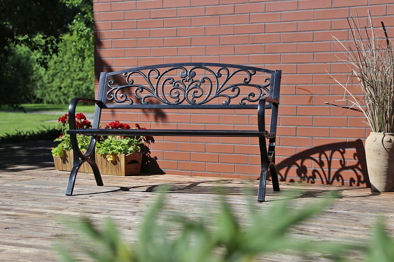 Kovová lavica ako kovaná, pevná, odolná konštrukcia Dĺžka (dlhšia strana) 127 cm