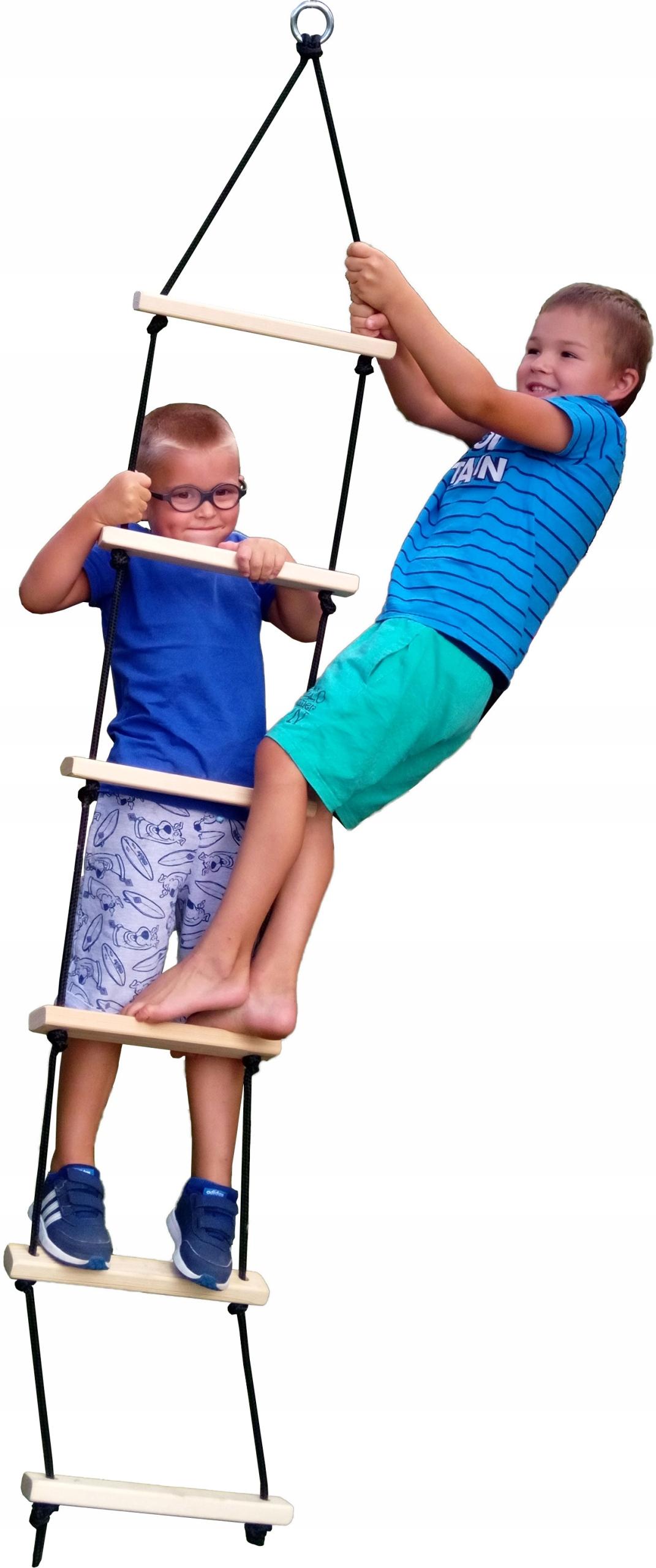 Лестница веревочная деревянная 6 ступеней (натуральная)