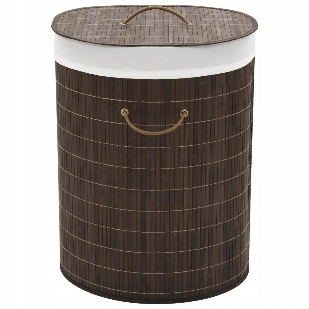 Oválny tmavo hnedý bambusový kôš na prádlo