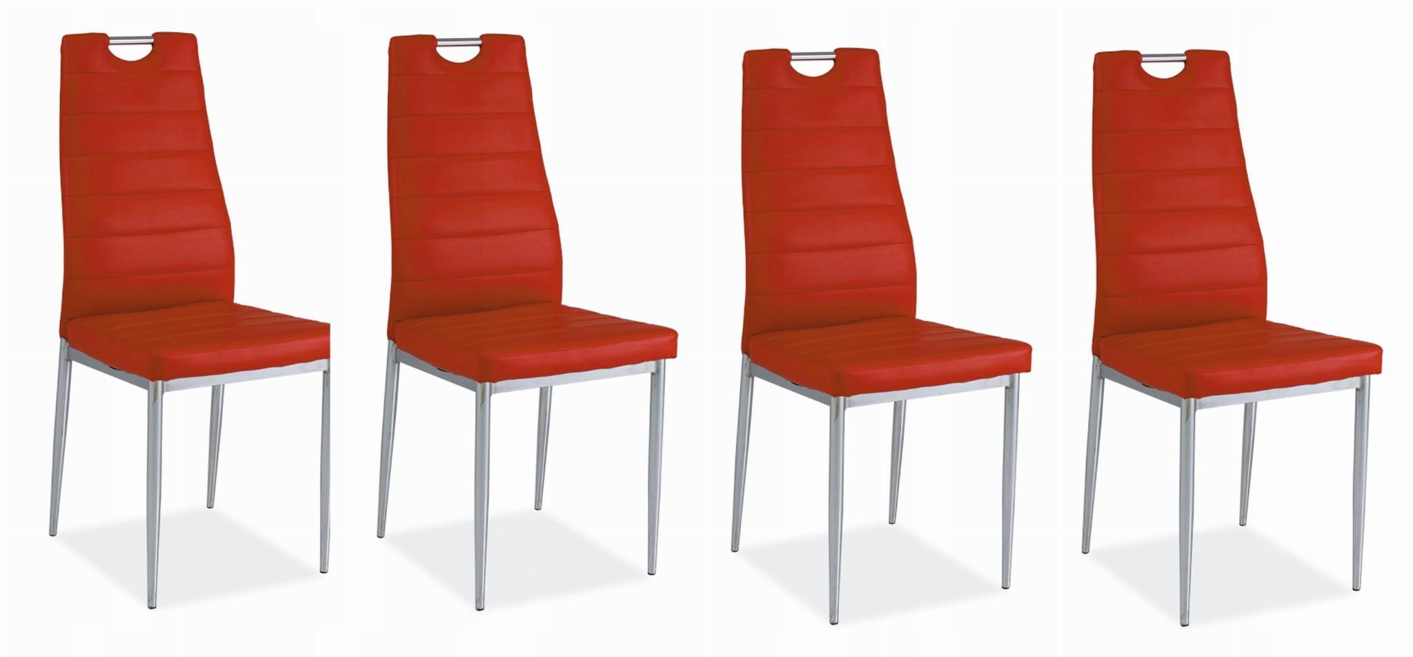 Stolička H260 4 Ks červená, koženka/ chrome