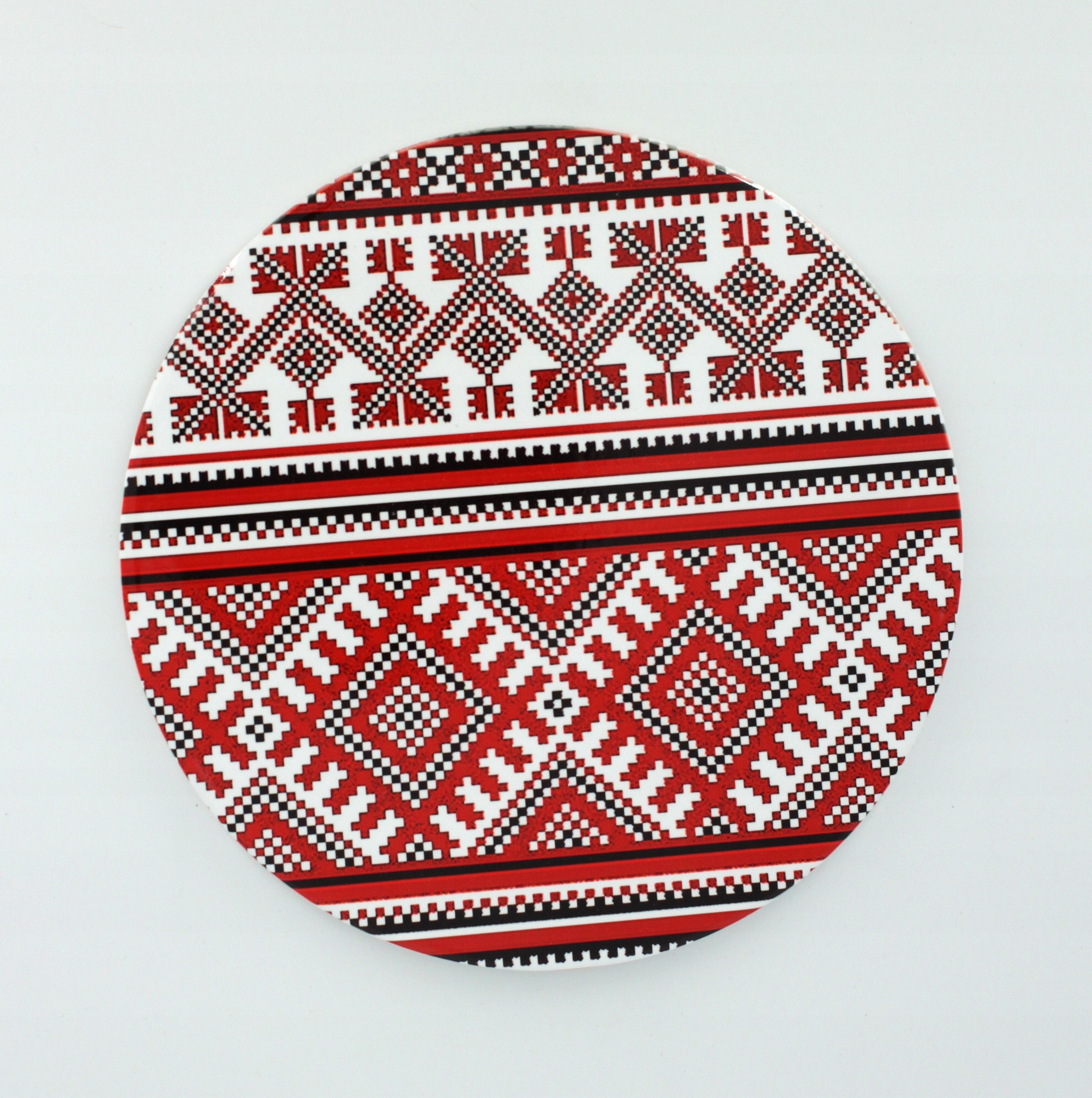 Тарелка керамическая на стол - 20 см Карпатский узор