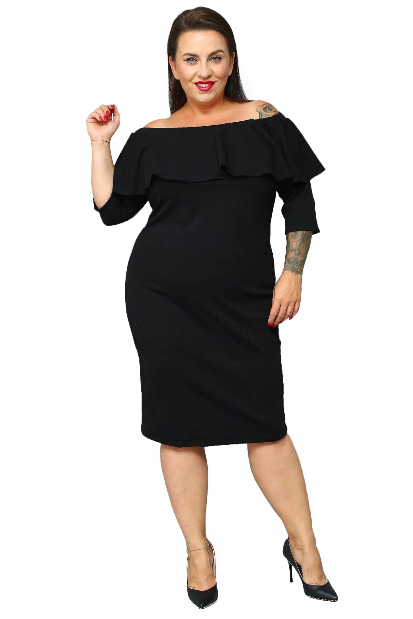 Sukienka hiszpanka Alba ołówkowa gładka czarna 50
