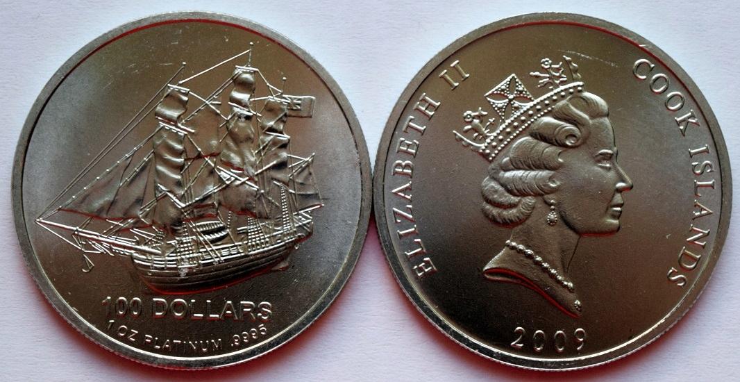 100 dolárov 2009 - platinová unca - obchod!