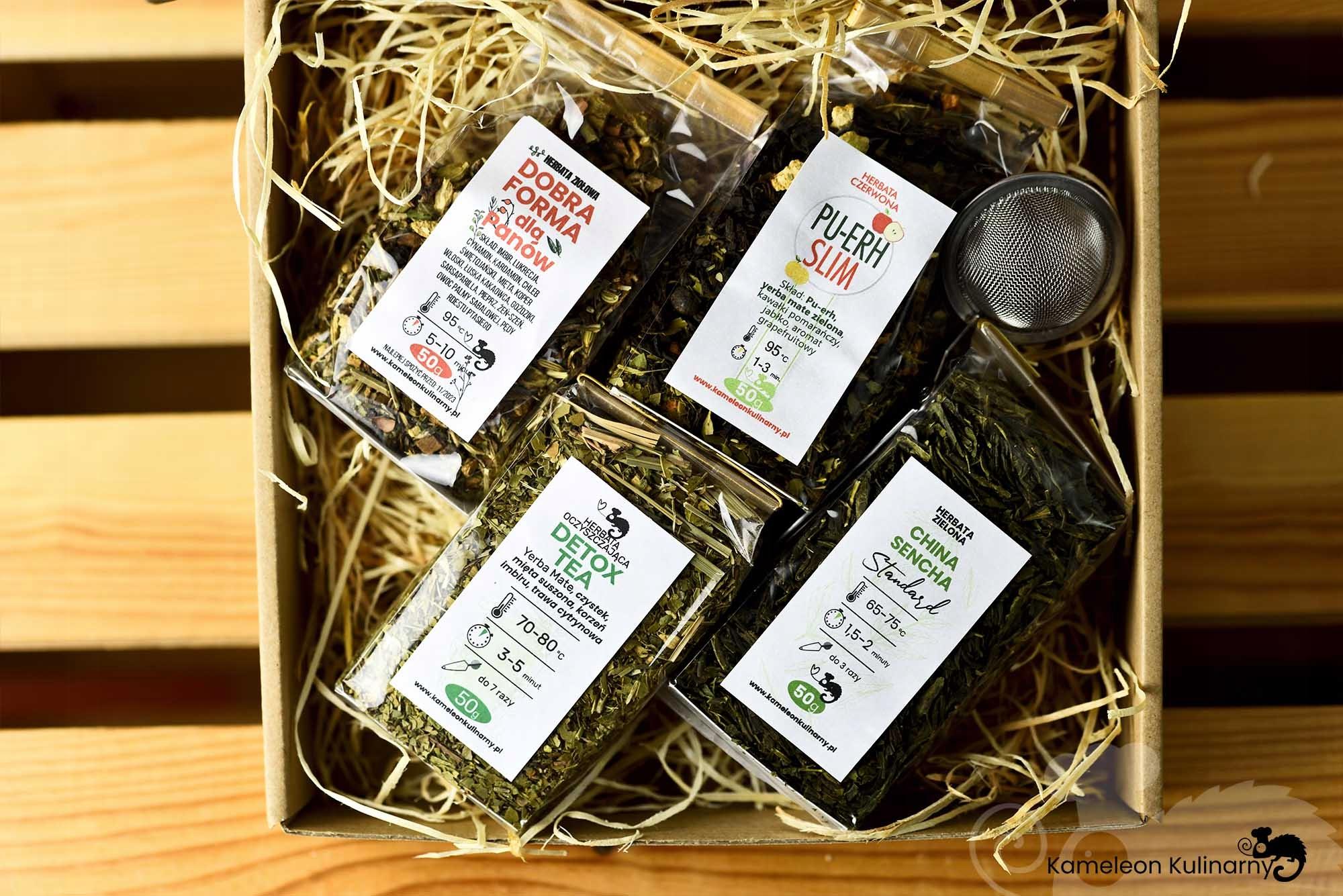ZESTAW PREZENTOWY na prezent 4 herbaty i zaparzacz Nazwa handlowa ZESTAW 4 herbaty i zaparzacz - KAMELEON KULINARNY