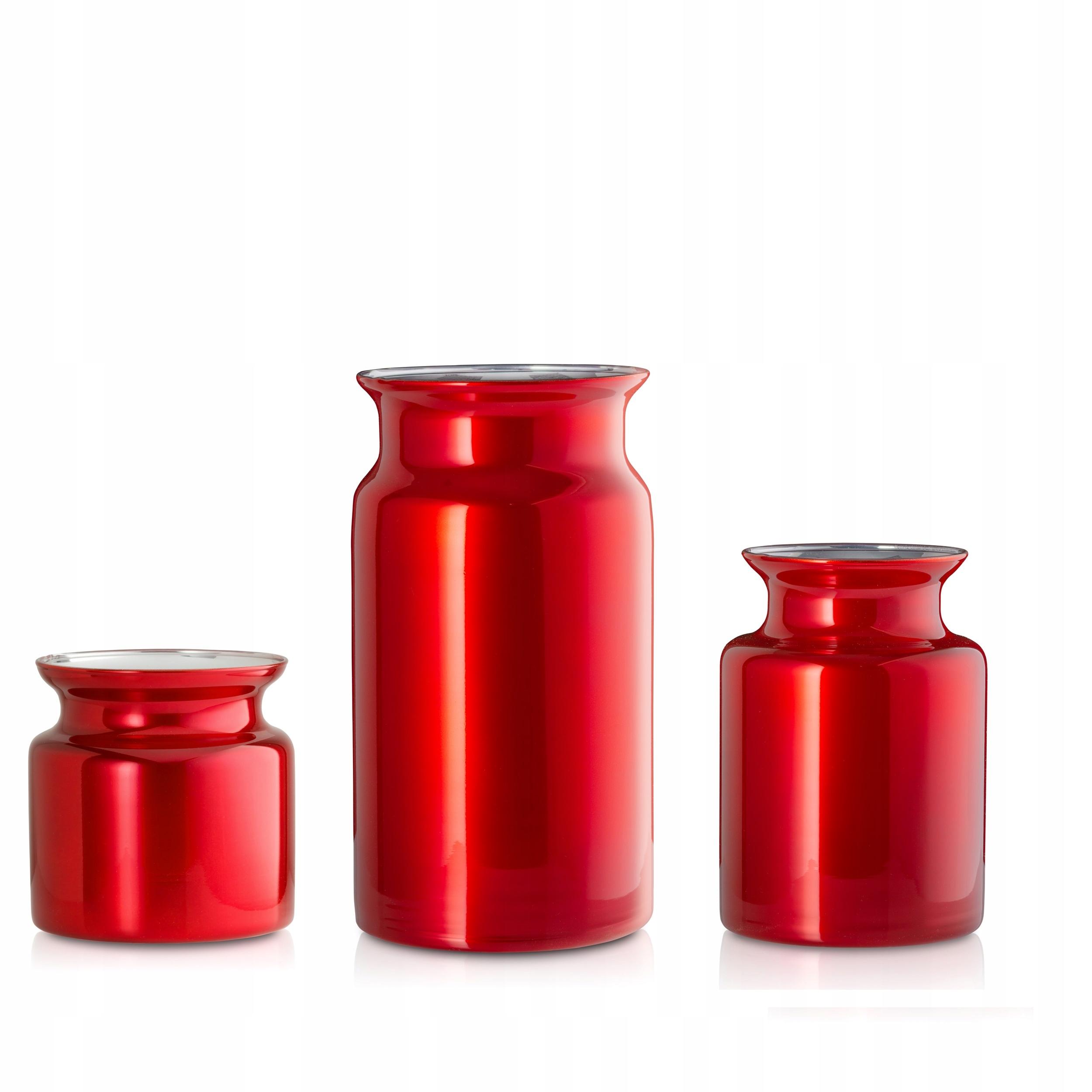 Wazon szklany świąteczny czerwony GLAMOUR-3szt.