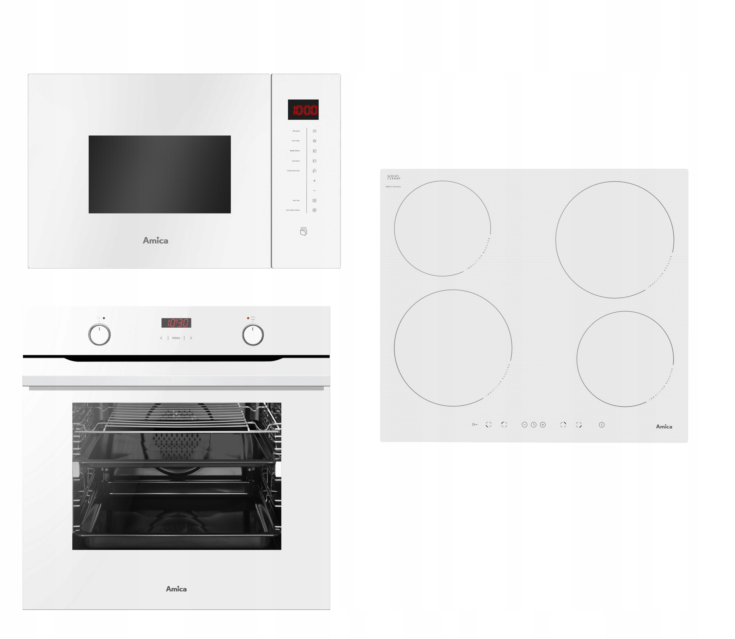 AMICA SET WHITE Духовка с индукционной микроволновой печью